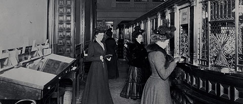 In 1900, the Fifth Avenue Bank in New York City featured a special row of tellers' windows for the ladies.