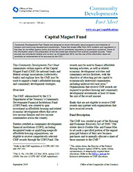 Community Affairs Fact Sheet: Capital Magnet Fund- September 2019