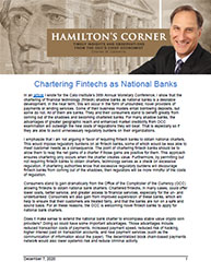 Hamilton's Corner Cover Image: Chartering Fintech's as National Banks