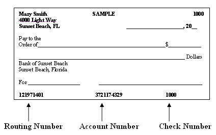 image of check showing routing number, account number, and check number